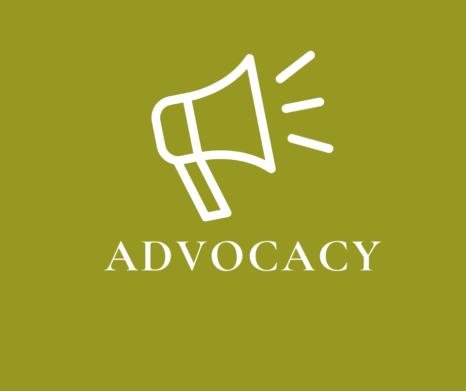 "Icon of bullhorn on green background with word ""Advocacy"""
