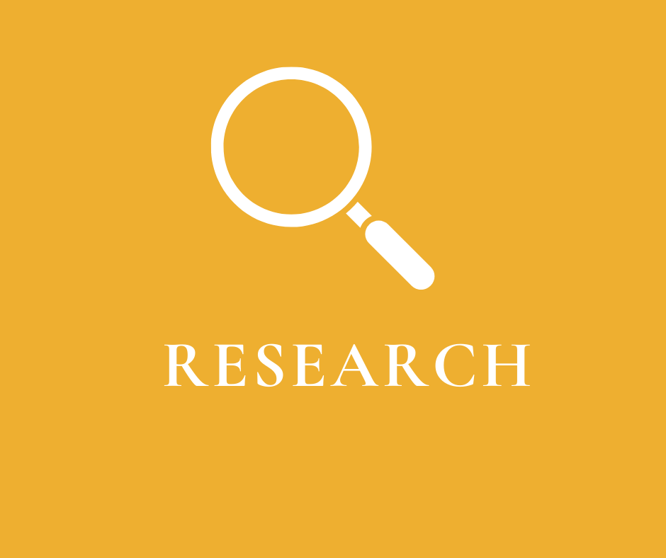 "Icon of magnifying glass on yellow background with word ""Research"""