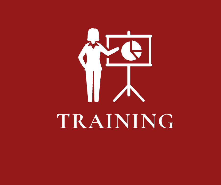 "Icon of woman standing, pointing to screen with chart on red background with word ""Training"""